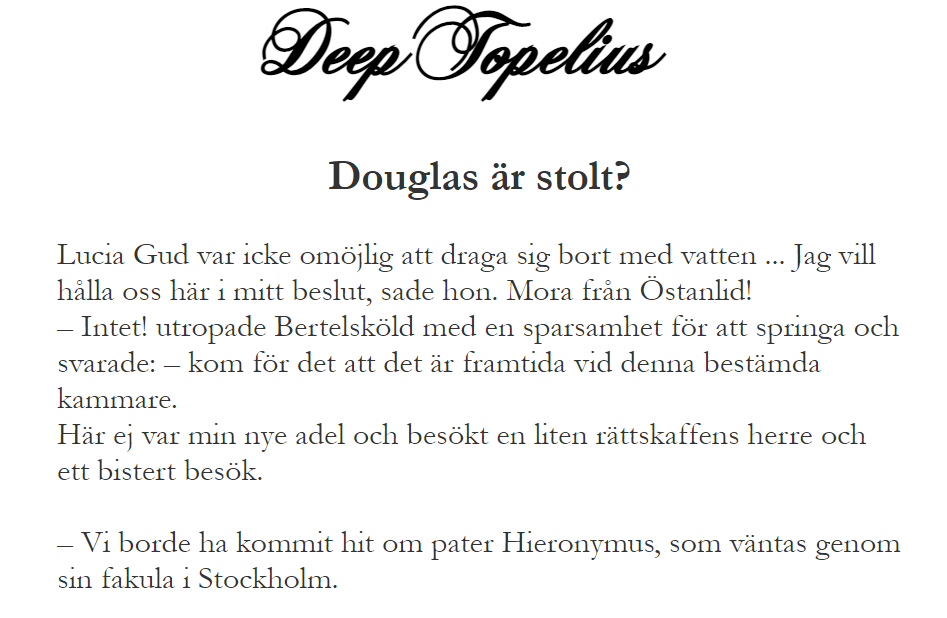A screenshot from the DeepTopelius website, with nine rows of text in 19th century Swedish.